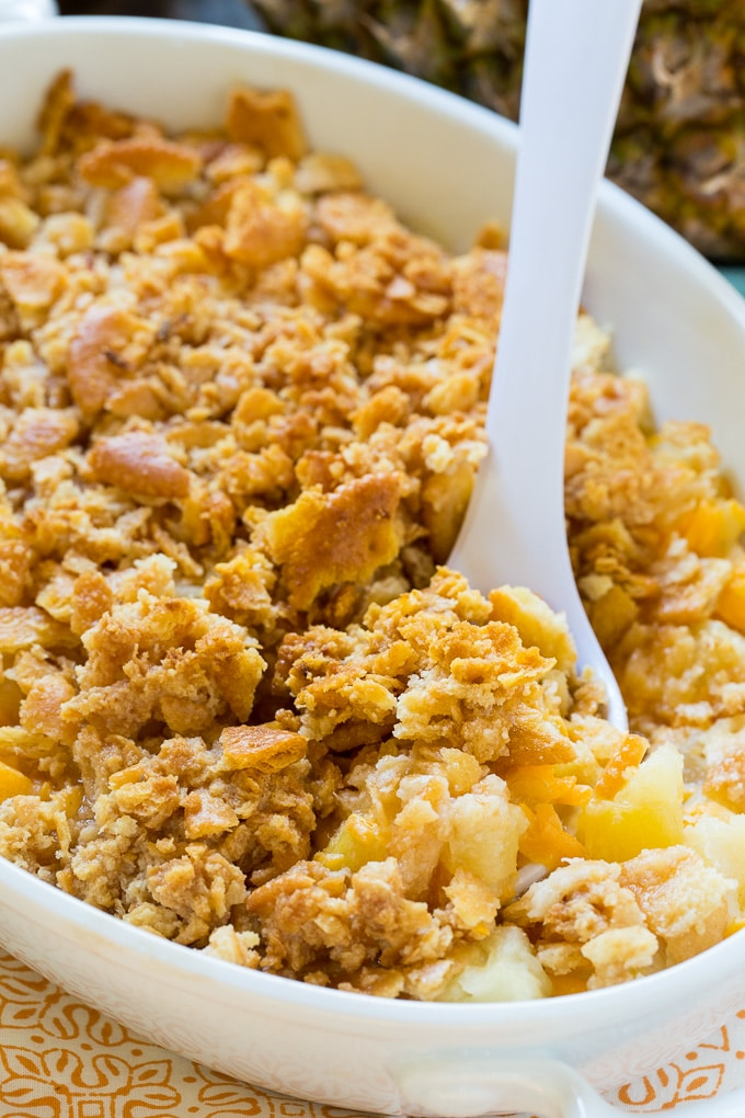 Pineapple Casserole is both sweet and savory