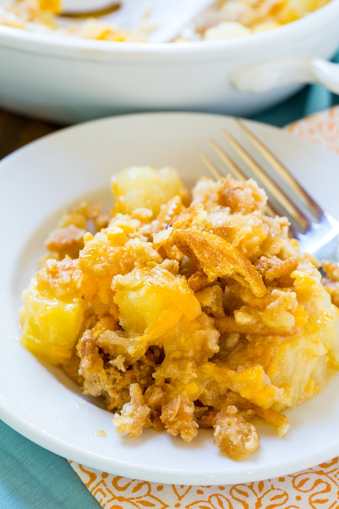 Pineapple Casserole with a butter cracker topping