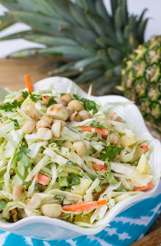Close-up of Pienapple Coleslaw with Coconut.