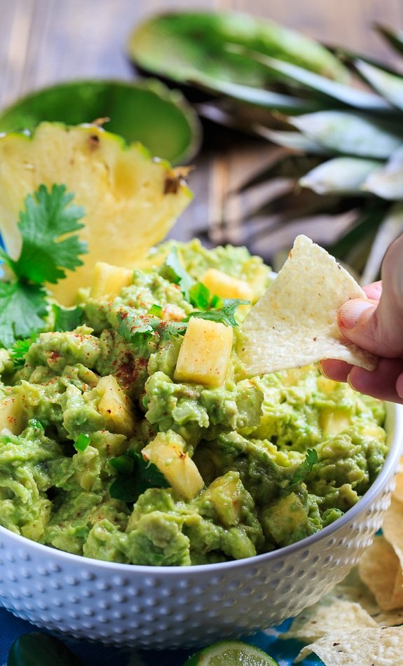 Spicy Pineapple Guacamole - creamy, sweet, and spicy!