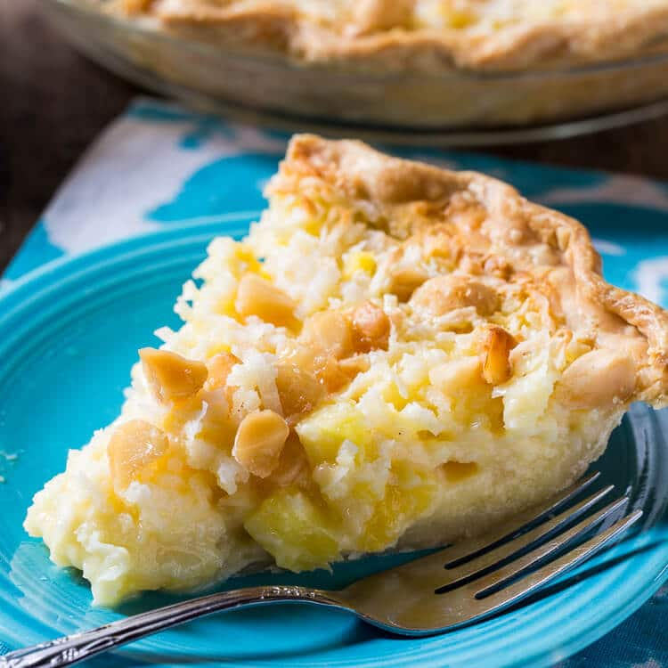 Pineapple Coconut Macadamia Nut Pie