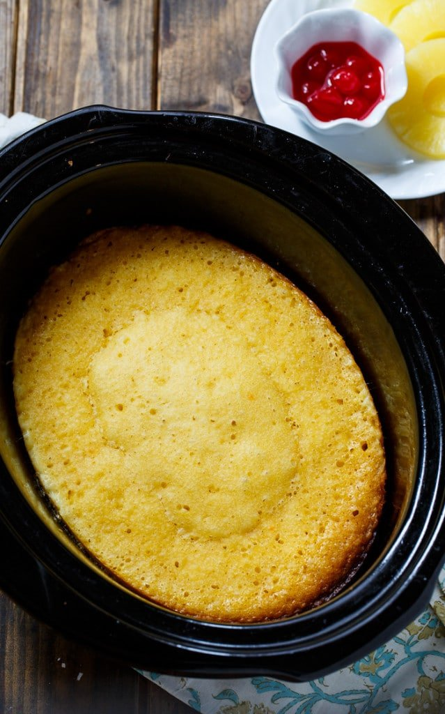Slow Cooker Pineapple Upside Down Cake