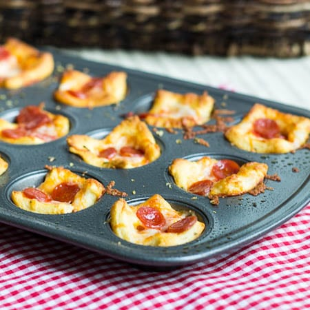 Pepperoni Pizza Poppers in a mini muffin tray.