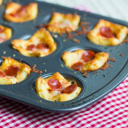 Pizza Poppers in a mini muffin tin.