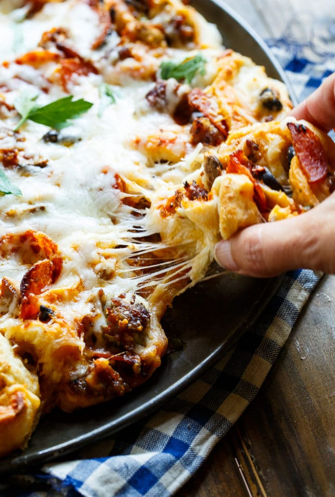 Pull-Apart Supreme Pizza Pinwheels from Melissa's Southern Cookbook.