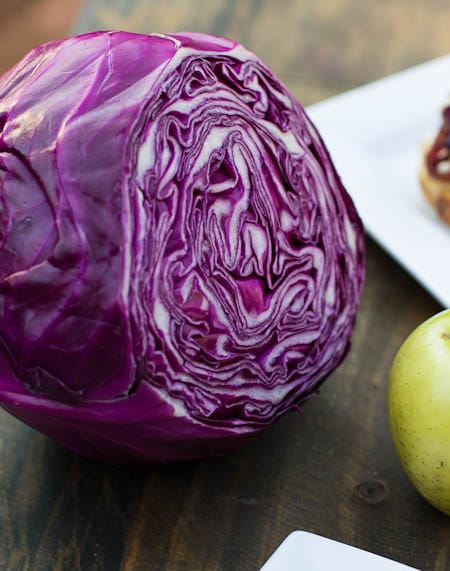 Head of red cabbage.