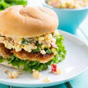 Indiana Pork Tenderloin Sandwich with Creamy Corn Relish