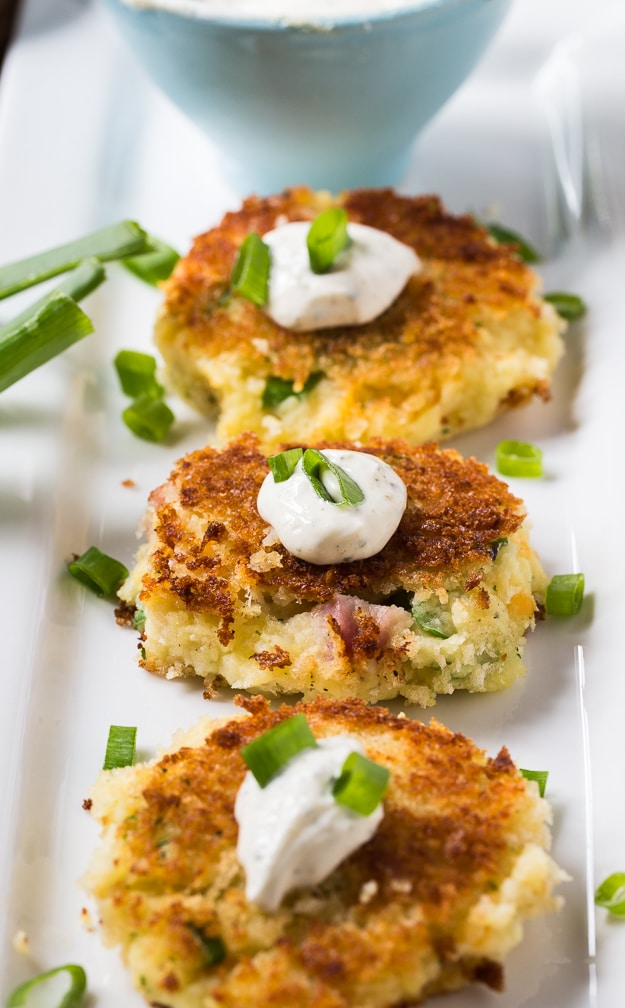 Mashed Potato Croquettes with ham and ranch seasoning. Perfect for using up Thanksgiving leftovers