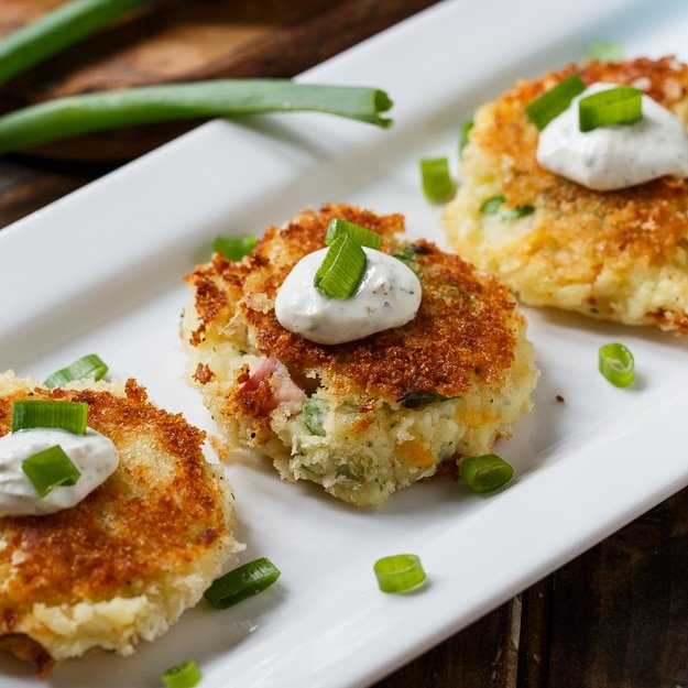 Mashed Potato Croquettes with ham and ranch seasoning. Perfect for Thanksgiving leftovers