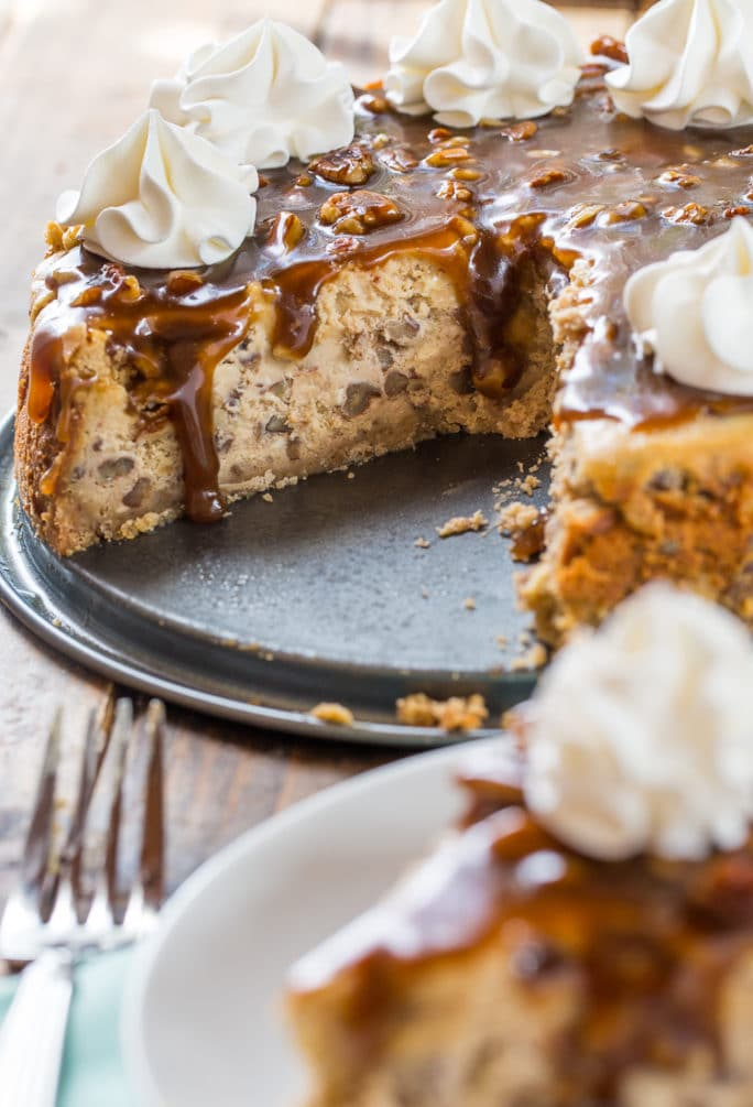 Pecan Praline Cheesecake with a buttery pecan crust.