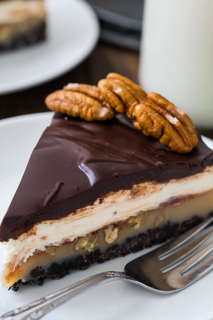 Praline Cream Cheese Pie- 4 delicious layers!