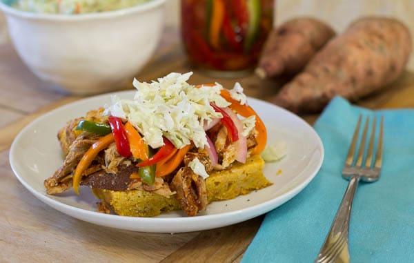 Pulled Chicken Sandwich on Sweet Potato Cornbread