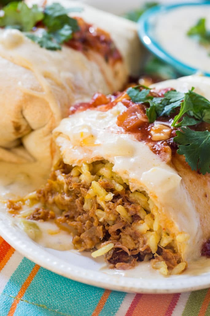 Pulled Pork Burritos with Cheesy Sour Cream Sauce