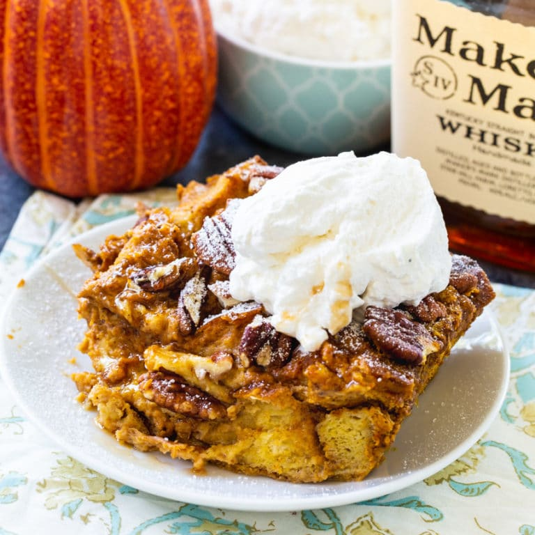 Pumpkin Bread Pudding with Bourbon Whipped Cream