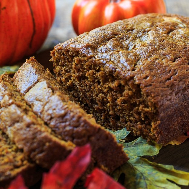Spicy Pumpkin Bread - with a heavy dose of fall spices, this moist pumpkin bread is not lacking in flavor.
