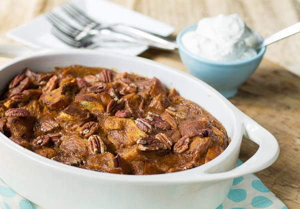 Pumpkin Bread Pudding with Bourbon Whipped Cream - Spicy Southern ...