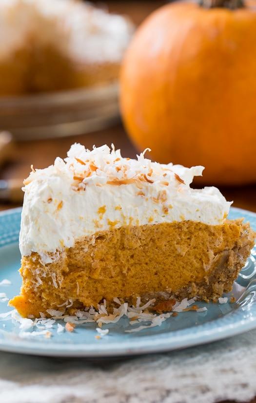 Coconut Pumpkin Chiffon Pie #Thanksgiving