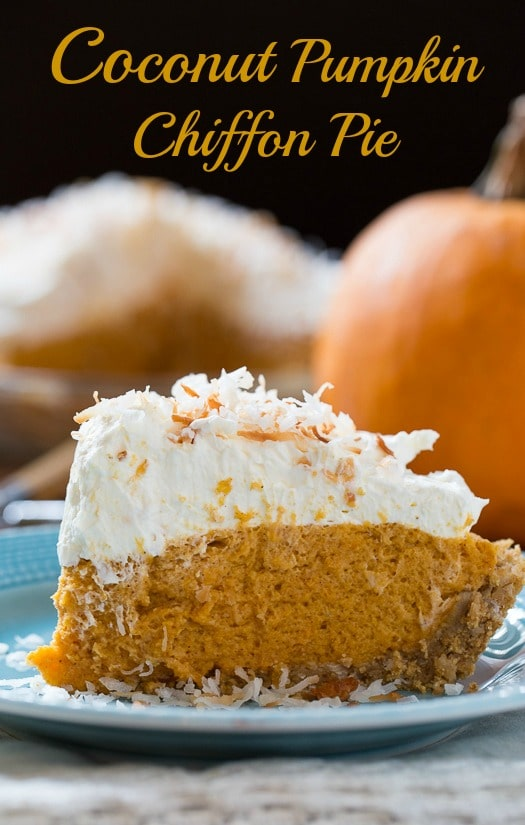 Coconut Pumpkin Chiffon Pie - so light and rich with a scrumptious mascarpone whipped cream topping.