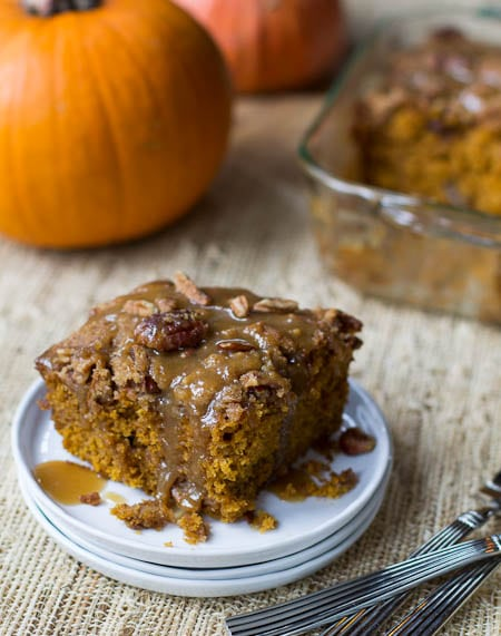 Pumpkin Coffee Cake with Brown Suagr Glaze