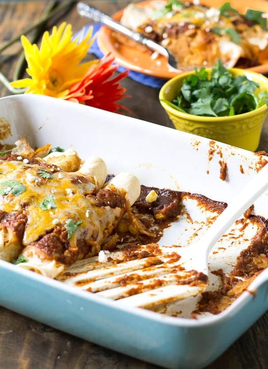 Pumpkin-Ancho Enchiladas with Pulled Pork