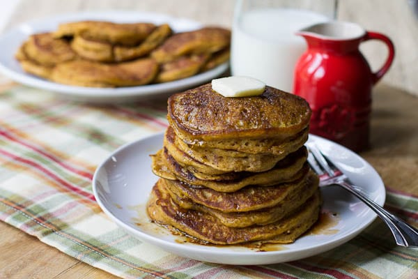 Pumpkin Pancakes with Bourbon Vanilla Maple Syrup