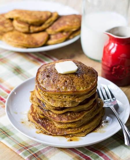 Pumpkin Pancakes with Bourbon Vanilla Syrup