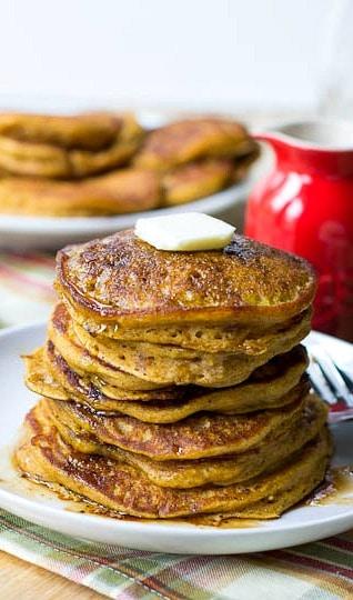 Pumpkin Pancakes with Bourbon Vanilla Maple Syrup