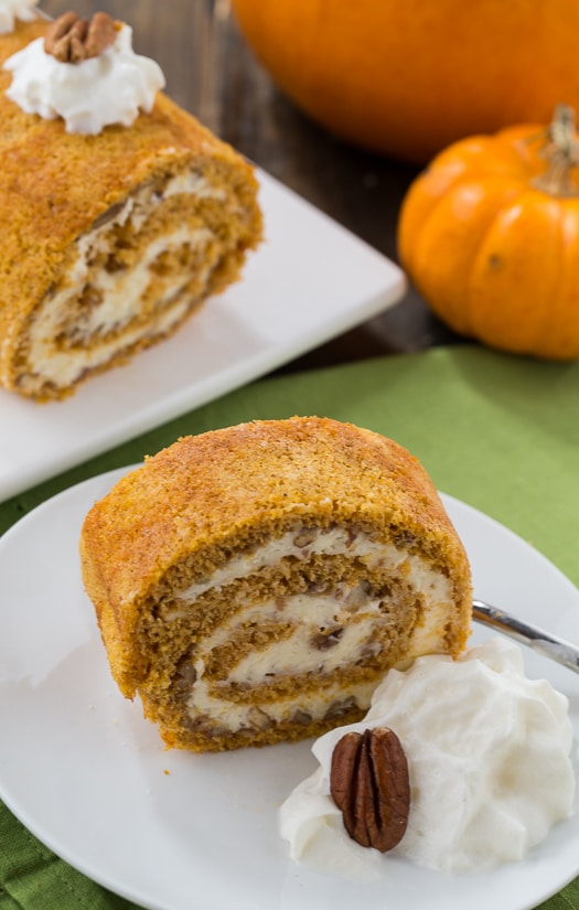 Homemade Pumpkin Cake Roll with a creamy filling.
