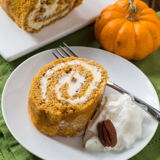 Pumpkin Roll with a creamy filling.