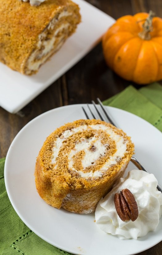 Pumpkin Cake Roll with a creamy filling.