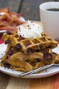 Pumpkin Chocolate Chunk Waffles