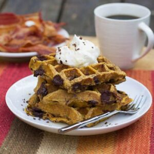 Pumpkin Chocolate Chunk Waffles