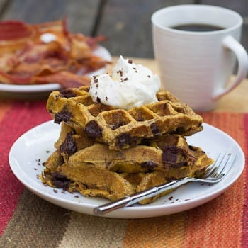 Pumpkin Chocolate Chunk Waffles on a plate with bacon and coffee in background.