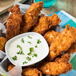 Dry Ranch mix makes these chicken fingers super flavorful. A big favorite with kids!