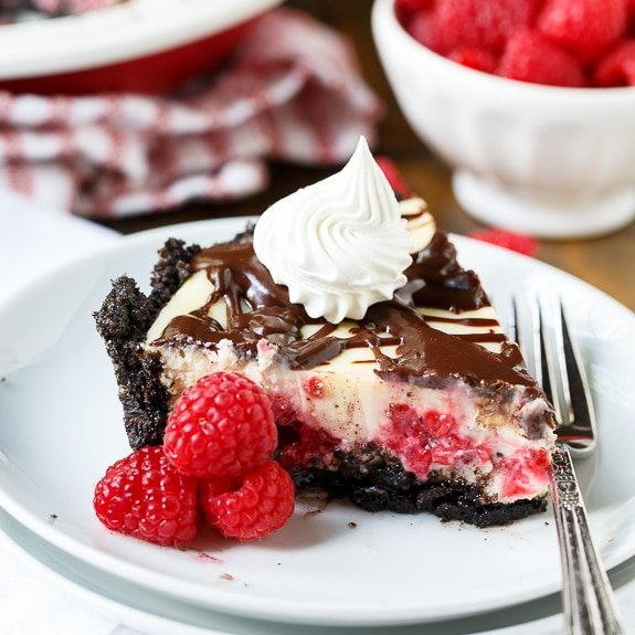 Raspberry Cream Cheese Pie - a decadent dessert for summer.