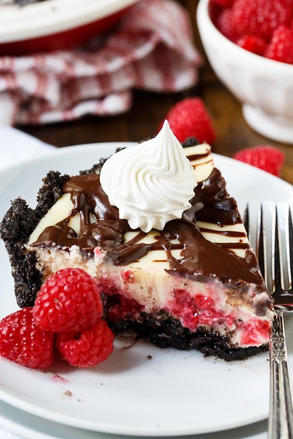 Raspberry Cream Cheese Pie - a decadent summer dessert.