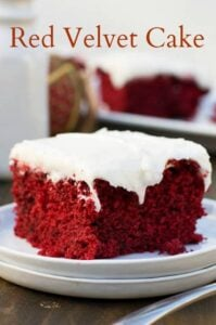 Red Velvet Sheet Cake - much easier than making a layered cake but just as delicious.