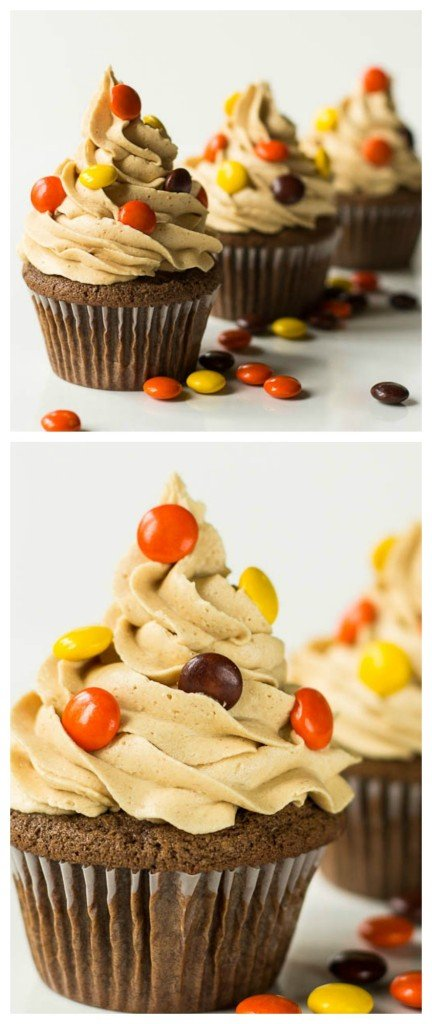 Double Reese's Cupcakes with an incredible peanut butter frosting and a peanut butter cup hidden on the bottom.