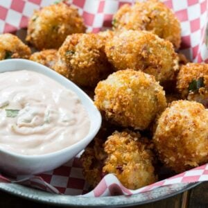 Reuben Fritters with a mashed potato base and chopped corned beef ...