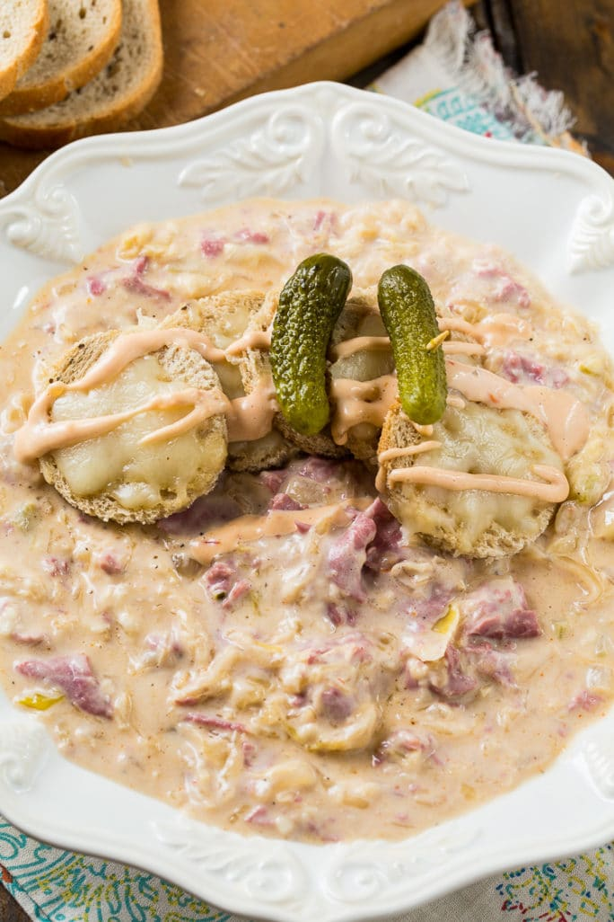 Reuben Soup with corned beef, swiss cheese, and sauerkraut