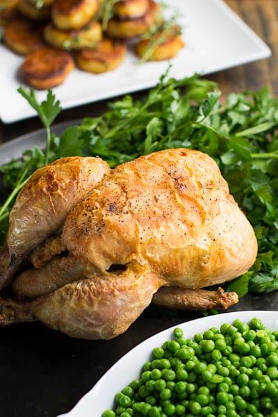 crispy roast chicken save print this roast chicken cooks up