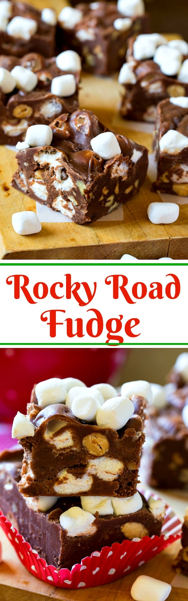 Rocky Road Fudge with marshmallows and almonds.