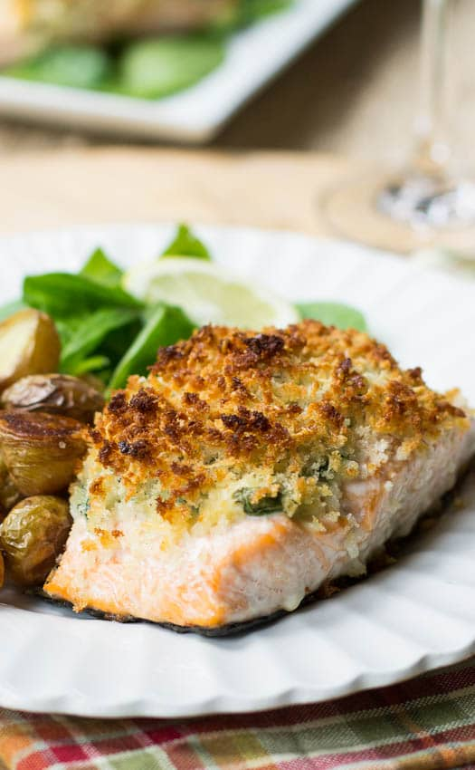 Close-up of Baked Salmon Stuffed with Mascarpone Spinach.
