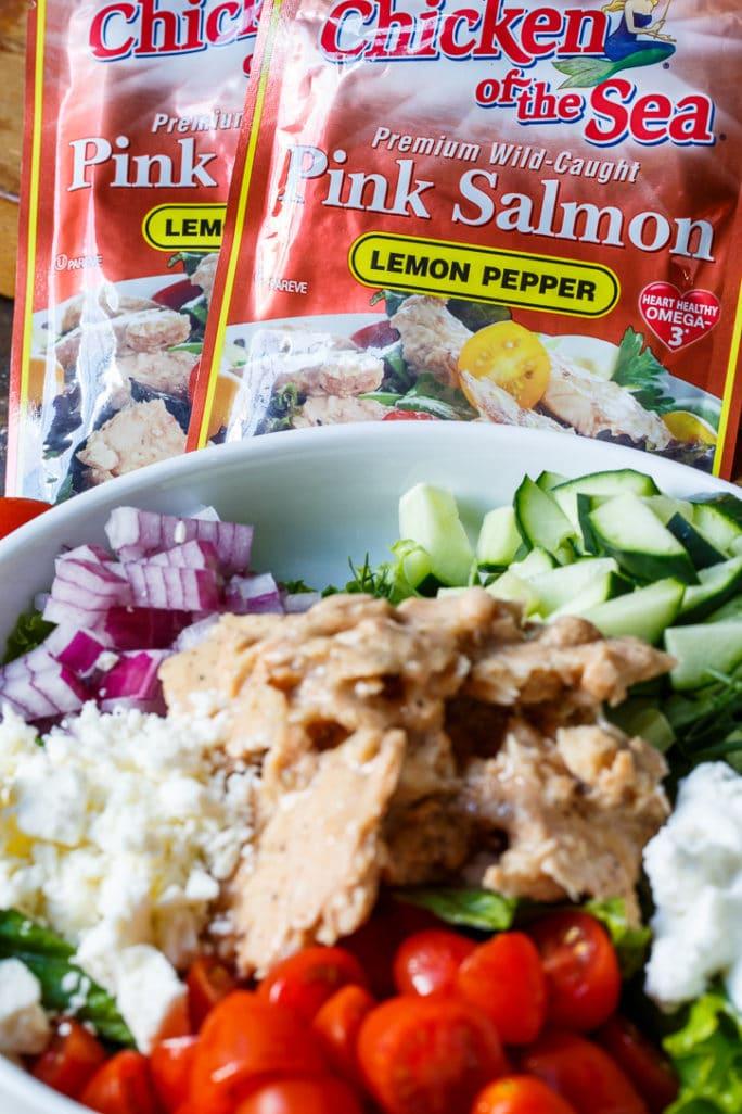 Greek Salmon Pita Sandwich