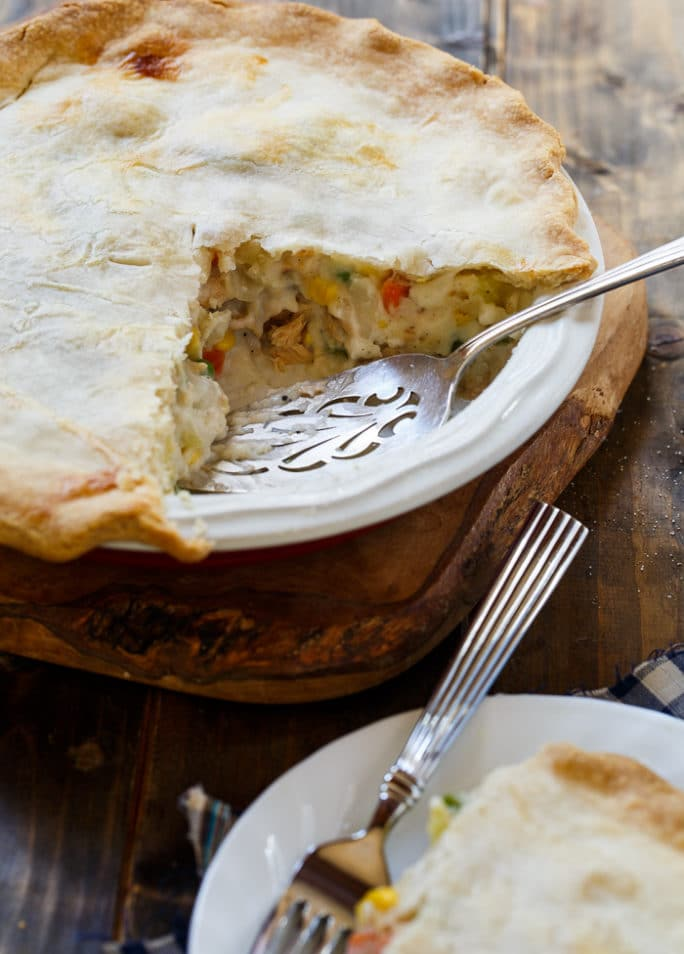 Salmon Pot Pie with a thick and creamy filling. Super easy to make with a refrigerated pie crust and Chicken of the Sea Salmon.