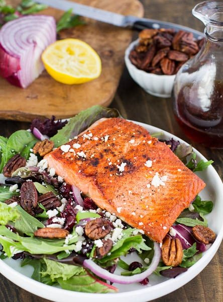 Seared Salmon over Mixed Greens with Dried Cranberries, Feta, and Candied Pecans