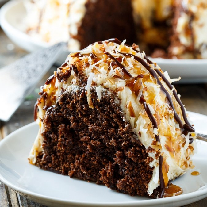 Samoa Bundt Cake- moist chocolate cake covered in caramel frosting and covered in toasted coconut.