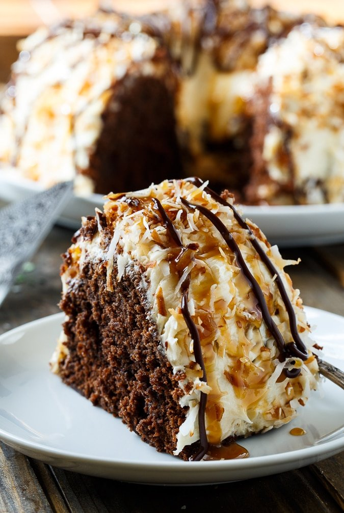 Samoa Bundt Cake with caramel frosting and toasted coconut.