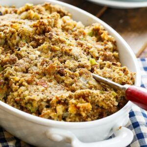 Sausage Stuffing-ground sausage, onion, celery, sage, and cream of chicken soup make this a fabulously flavored side dish for Thanksgiving.