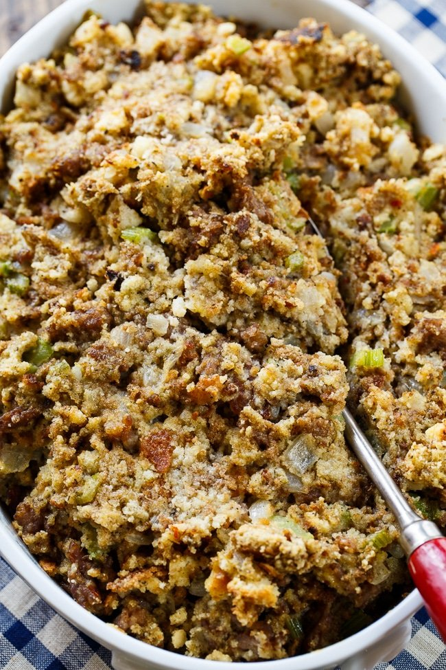 Sausage Stuffing made with ground sausage, onion, celery, sage, and a can of cream of chicken soup. Makes such a flavorful Thanksgiving side.